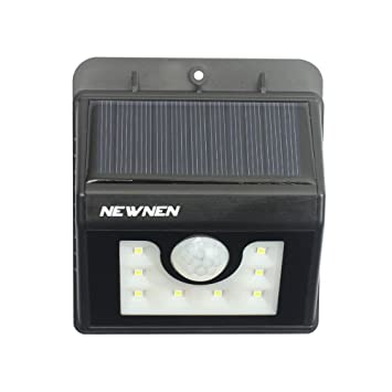 newnen 8LEDs funciona con energía solar sensor de movimiento luz al aire libre luces de inundación
