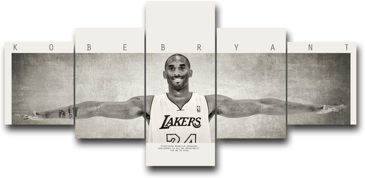NBA Star Kobe Bryant Wall Art for Living Room Basketball Home Decor Canvas Black White Pictures Lenticular House Decorations LA Lakers Mourning Artwork Paitings Framed Posters and Prints -50''Wx24''H