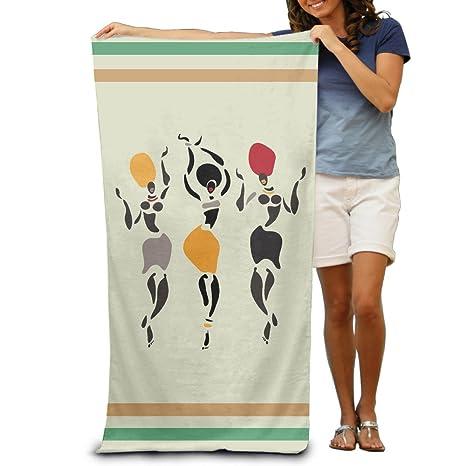 Figuras de África bailarines adultos toallas de baño de 80 x 130 cm