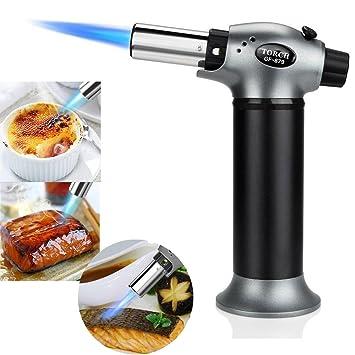 QITAO® Micro butano linterna encendedor, soldadura brasileño herramienta recargable, grado profesional de soplado culinario para acampada soldar barbacoa al ...