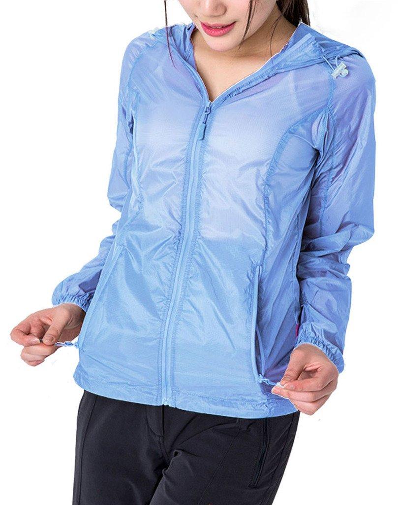 ZSHOW Women's Packable Super Lightweight Sun Protect Jacket Quick Dry Windbreaker(Light Blue,Medium)