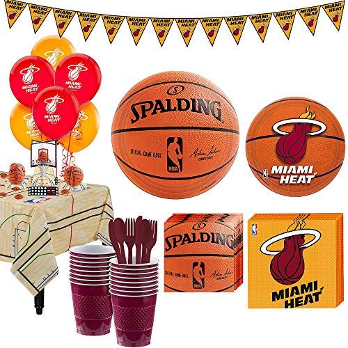 Party City Super Miami Heat Party Kit for 16 Guests, Includes Table Cover, Decorations and Tableware