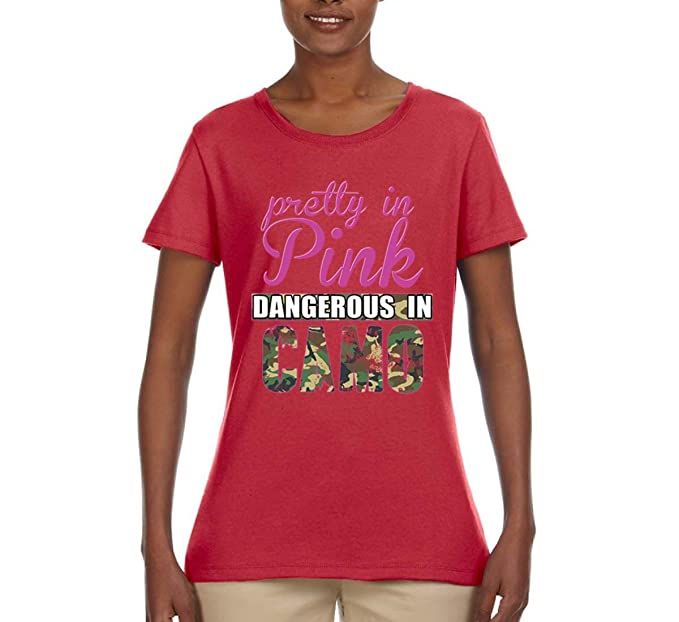 b5195cd332 Amazon.com: Pretty in Pink | Dangerous in Camo | Womens Humor ...