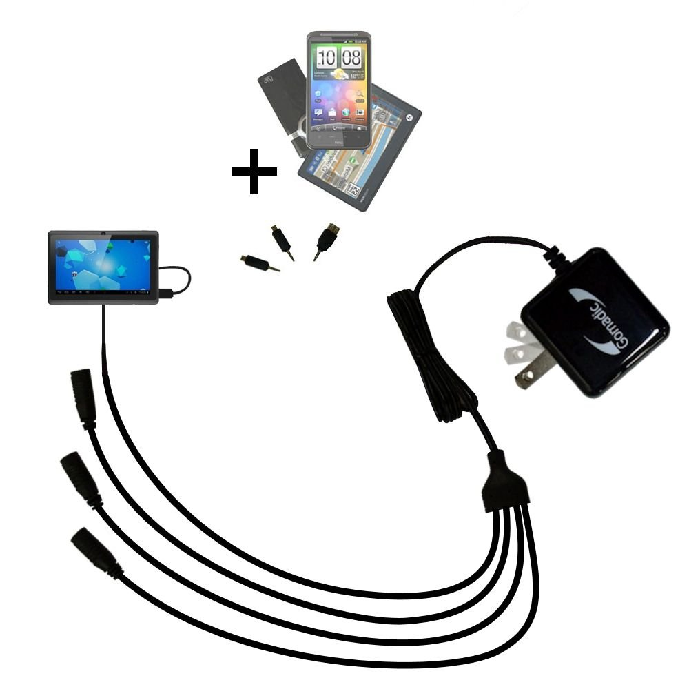 Quad 4-port wall charger with included tip for the Worryfree Gadgets ZeePad a compact design with flip out prongs - Uses TipExchange Technology to charge up to four devices simultaneously