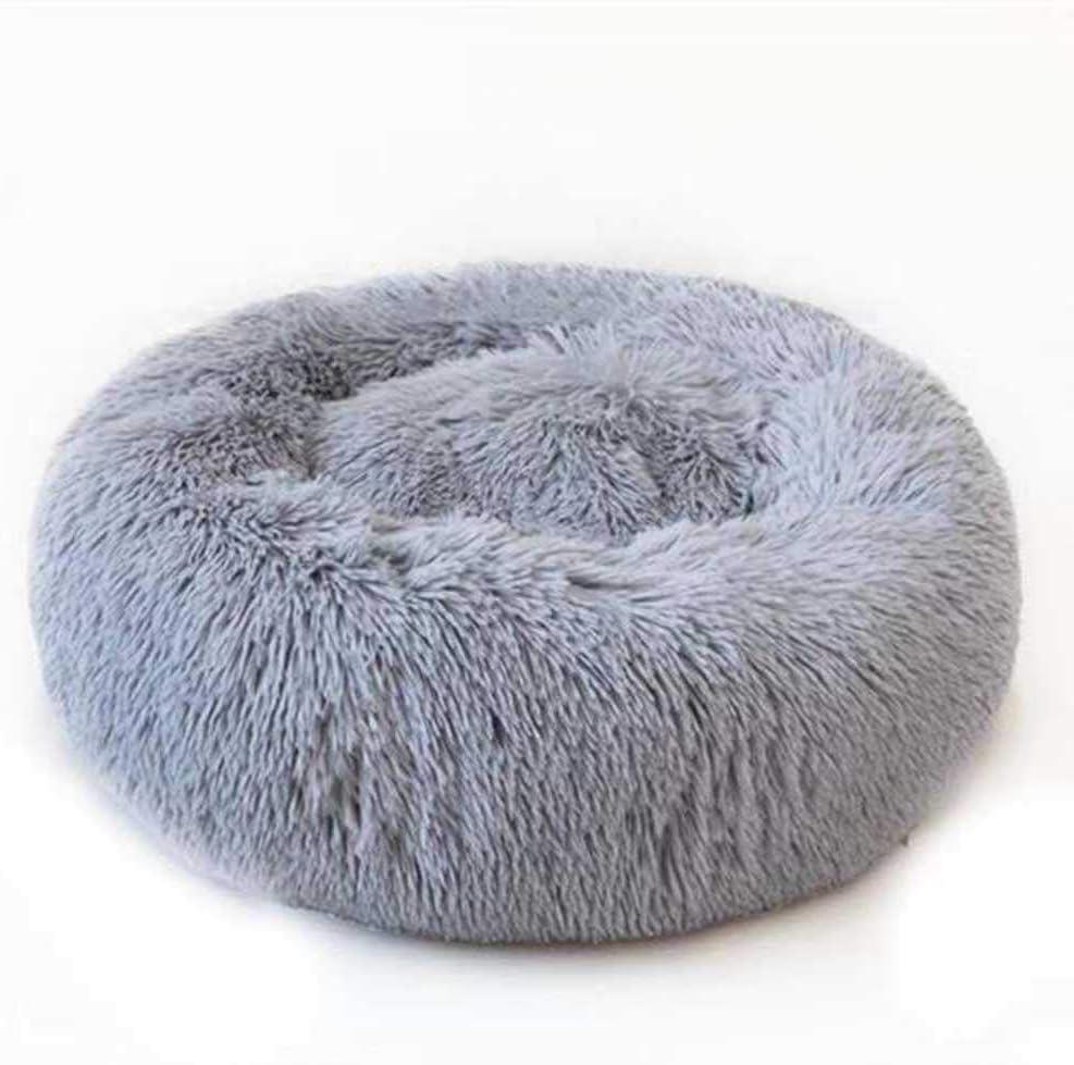 Cama calmante para perros y gatos, redonda, ovalada, con cojín suave en la parte inferior, alivio ortopédico mejorado, saco de dormir para mascotas, sofá para cachorros suave, 8 tamaños, 5 colores