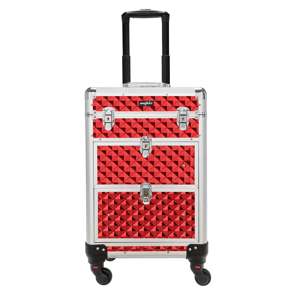 Mefeir Rolling Makeup Train Case Aluminum Cosmetic Luggage Lockable Travel Case Trolley with 4 360-Degree Casters & 2 Sliding Deep Drawers for Professional Artist Hair Stylist, Red