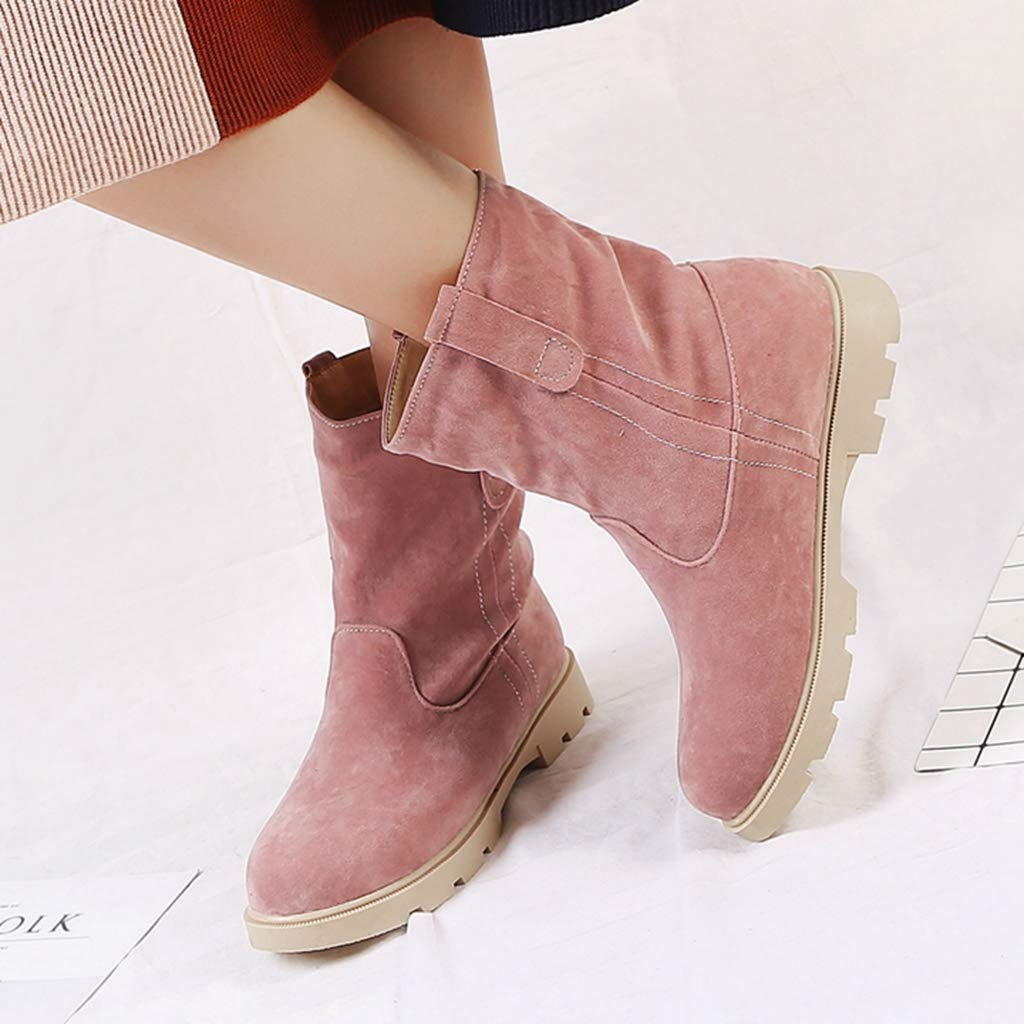 Womens Winter Snow Boots Warm Fur Suede Waterproof Short Boots Slip On Flat Low Heel Casual Ankle Boots