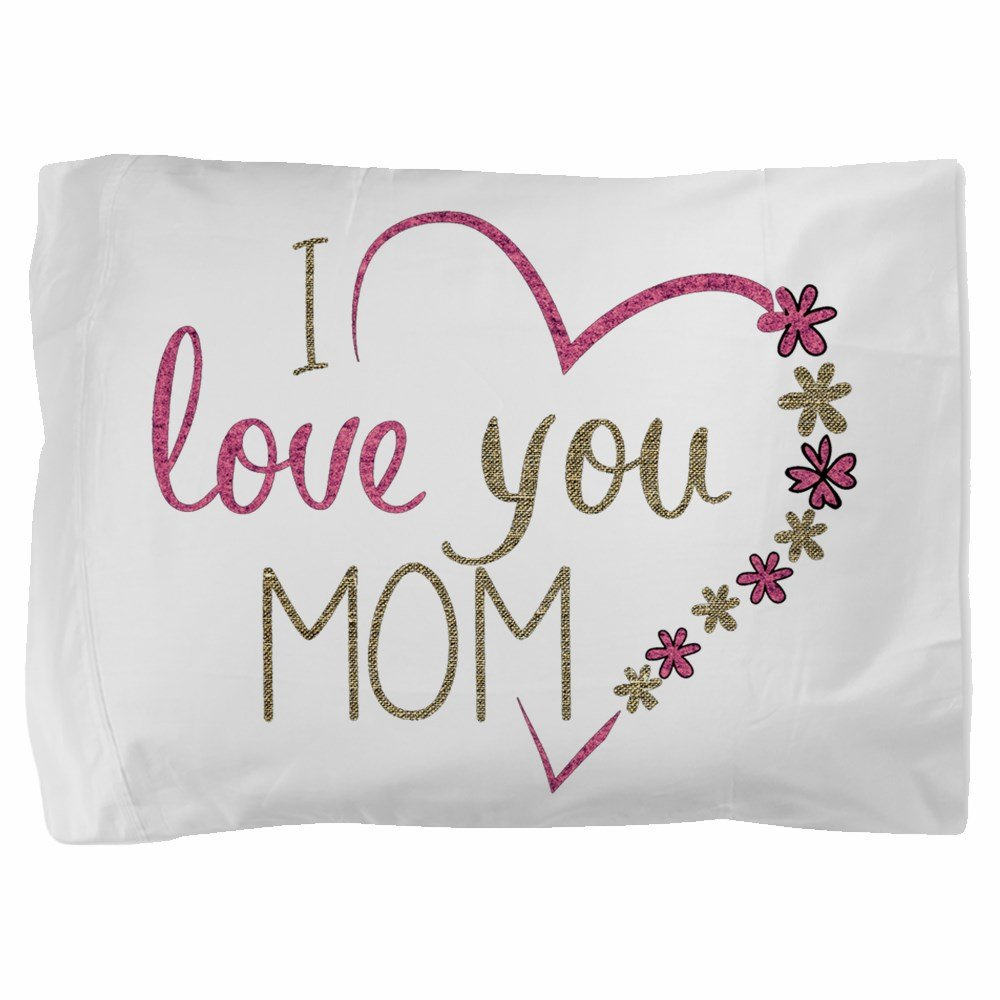 Truly Teague Twin Full Queen Pillow Sham I Love You Mom Burlap and Pink Heart
