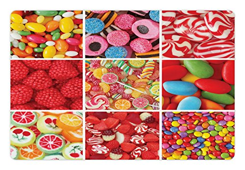 Lunarable Colorful Pet Mat for Food and Water, Collage of Photos with Different Sweets Candies Bonbon Fruity Jellies Lollipops, Rectangle Non-Slip Rubber Mat for Dogs and Cats, Multicolor