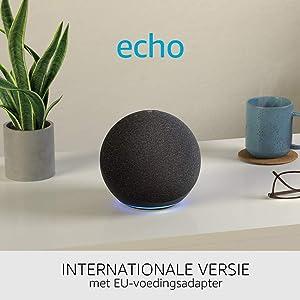 De nieuwe Echo (4e generatie) Internationale versie | Met premium sound, smart home hub en Alexa | Antraciet | Nederlandse taal niet beschikbaar