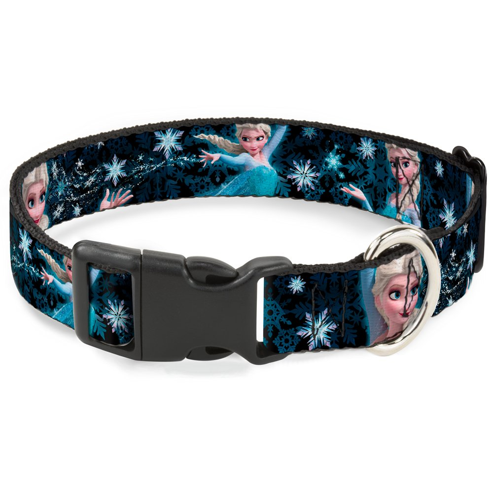 Buckle-Down Breakaway Cat Collar - Elsa the Snow Queen Poses PERFECT AND POWERFUL Blues/White - 1/2'' Wide - Fits 8-12'' Neck - Medium