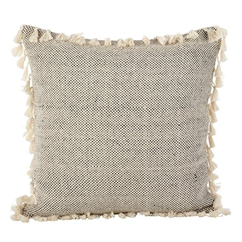 SARO LIFESTYLE Moroccan Design Tasseled Fringe Cotton Down Filled Throw Pillow, 20
