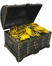 STOBOK 205PCS Kids Treasure Box Pirate Chest Organizer with Gold Coins Gemstone Earring Rings