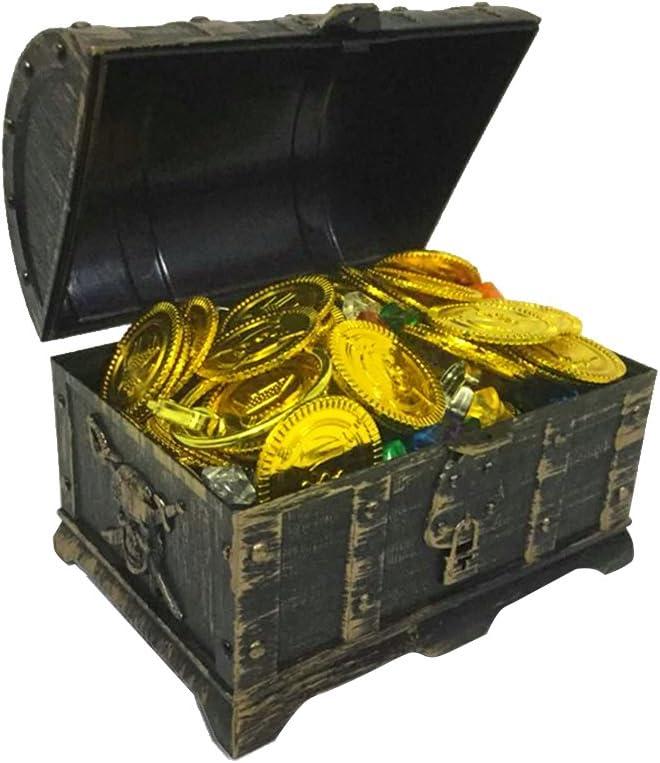 NUOBESTY 205 Piezas de plástico Pirata Cofre del Tesoro Monedas de Piedras Preciosas Pendientes para niños