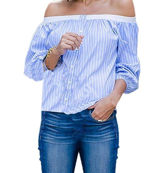 Primavera y Otoño Mujeres Tops Moda Cuello Barco Camisetas de Manga Larga Blouses Casual Rayas T