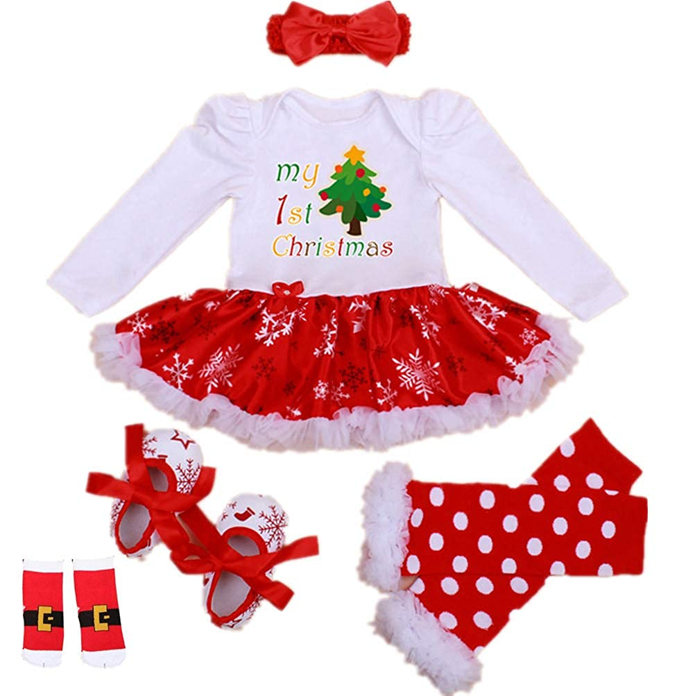 WINMI/® Baby Girls Newborn 1st Christmas Onesie Costume Outfits Tutu Dress 4PCs