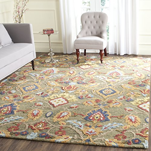 (Safavieh Blossom Collection BLM402B Handmade Green and Multi Premium Wool Area Rug (8' x 10'))