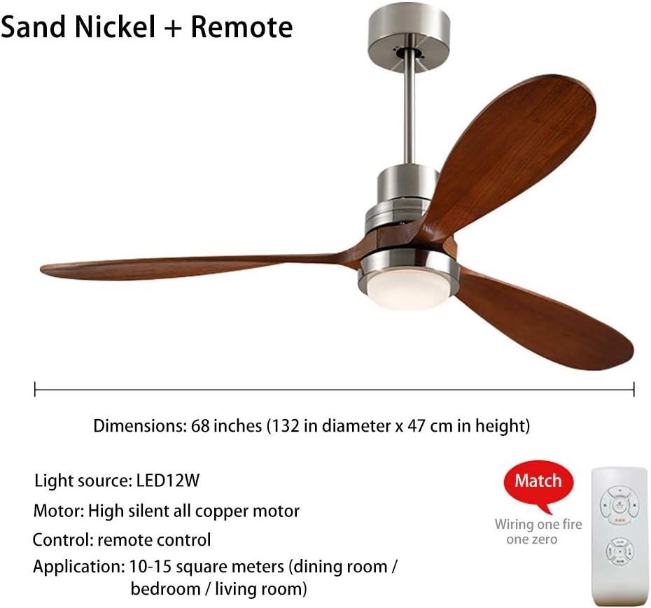 YGWL Luz LED De Ventilador De Techo De Madera Maciza, Aire Acondicionado De Tres Velocidades Ultra Silencioso, con Control Remoto,Adecuado para Sala De Estar, Dormitorio, Comedor 12W,Sand Nickel