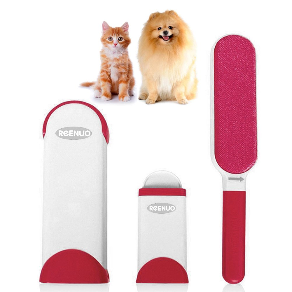 Brosses pour animal domestique, animal domestique fourrure et cheveux Lint Remover Rouleau avec Auto-nettoyage retirer Chien Chat Cheveux (Rouge)