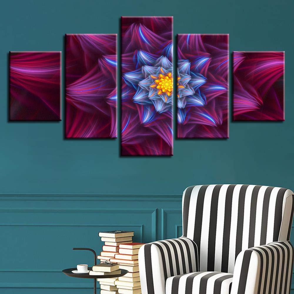 marca de lujo 2035cm2 2045cm2 2055cm1 QIFUHUA HD Decoración para para para el hogar Moderno Lienzo Sala de Estar 5 Panel Flores Impresas Imágenes Pintura Wall Art Modular Poster Frame Cuadros, Frame, 20x35 20x45 20x55cm  Las ventas en línea ahorran un 70%.