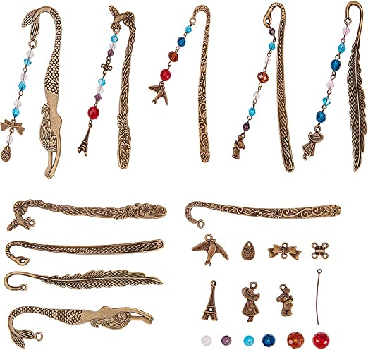 50 Mixed Bookmark Hooks Beading Jewelry Findings DIY Pendant Necklace Craft
