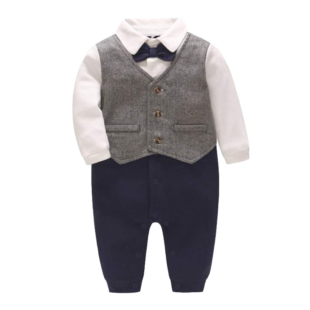 Fairy Baby Baby Boy's One Piece Long Sleeve Gentleman Formal Outfit (0-3Months, Silver Grey)