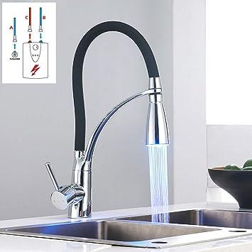 LED Chrome Küchenarmatur Spültisch Armatur Wasserhahn 360° Küche Einhebel Spüle