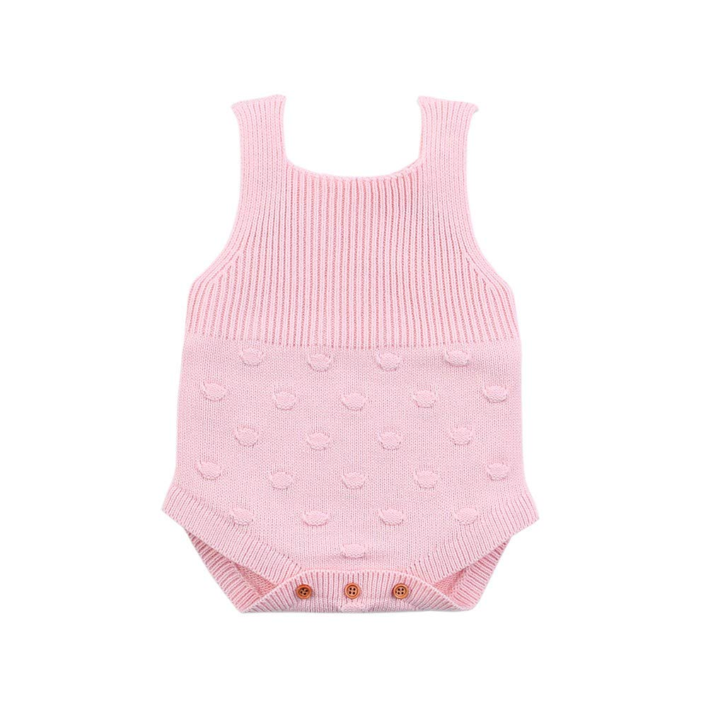 Soly Teche Newborn Baby Girls Boys Sleeveless Shoulder Strap Knit Overalls Rompers Jumpsuit