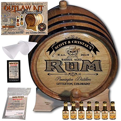 Personalized Rum Making Kit (100) - Create Your Own Spiced Rum - The Outlaw Kit from Skeeter's Reserve Outlaw Gear - MADE BY American Oak Barrel - (Oak, Black Hoops, 5 Liter)