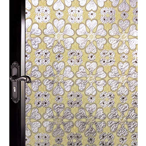 - DUOFIRE Decorative Film Privacy Window Film Stained Glass Film Yellow Flowers Pattern No Glue Anti-UV Removable Window Cling Non-Adhesive Window Privacy Film D95062, (23.6in. x 78.7in.) 60cm x 200cm