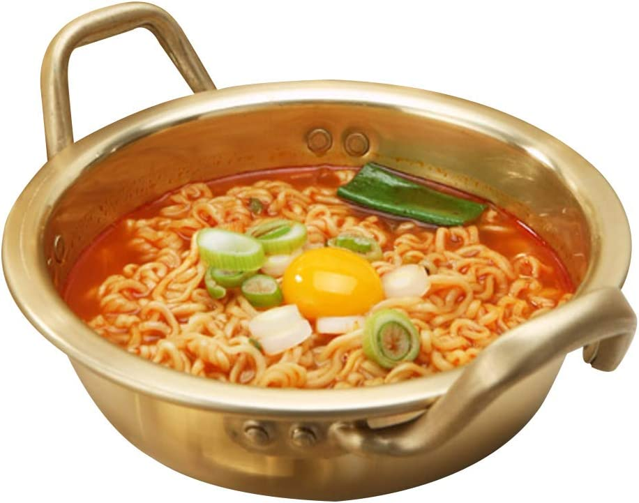 The Living Easy Korean Ramen Noodle Pot, Korea Stretched Noodles pot Instant Noodles Super popular cooker, 6-inch (16cm), Yellow Aluminum