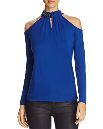 d409876b15895 Image Unavailable. Image not available for. Color  Design History  Embellished Collar Cold-Shoulder Top (Blue ...