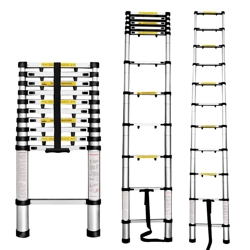 EN131 Certified Finether 5M Portable Aluminium Telescoping Ladder with Finger Protection Spacers for Home Loft Office 330 Lb Capacity