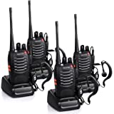 Proster Walkie Talkies Rechargeable 16 Channel 2-Way Radios with Original Earpiece and USB Charger 1 Pair