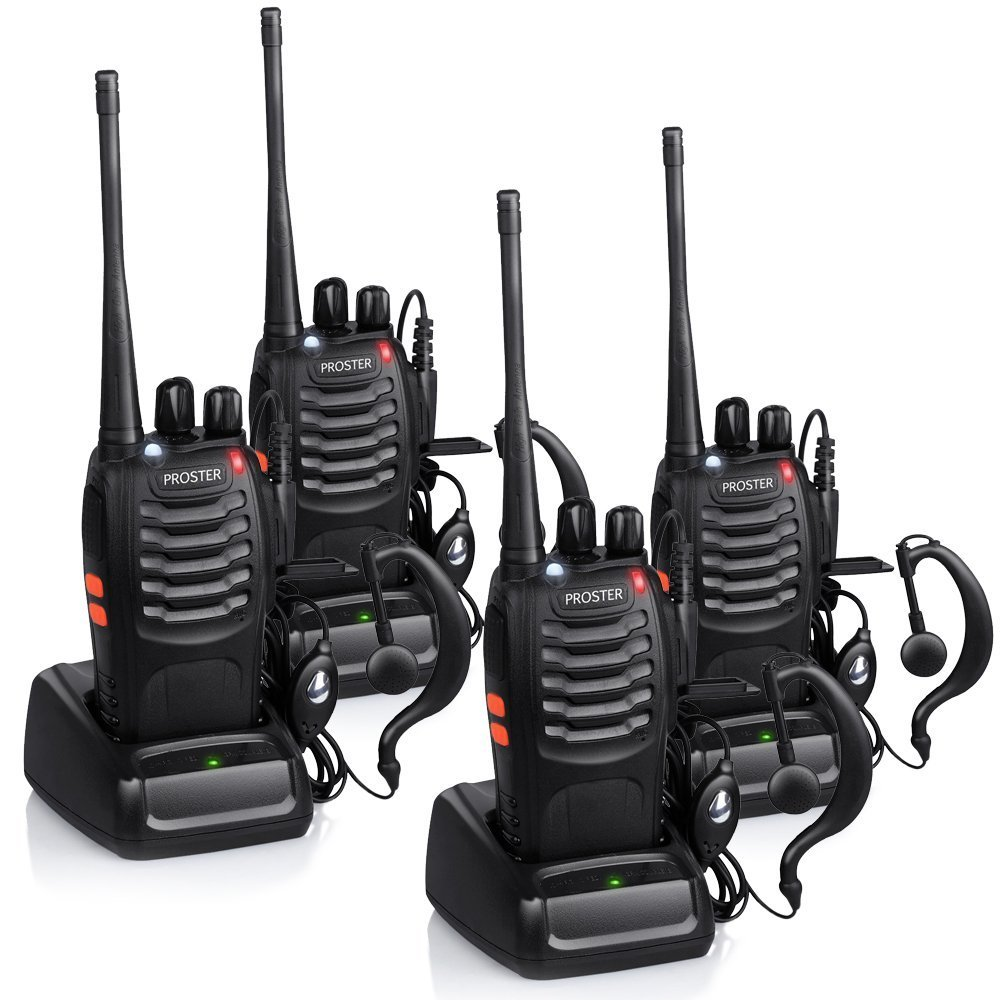 Proster Walkie Talkies Rechargeable 16 Channel Walkie Talkies Two Way Radio With Original Earpiece and USB Charger 2 Pair