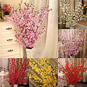 5Pcs Spring Peach Blossom Cherry Plum Bouquet Branch Silk Flower,Artificial Flowers Fake Flower for Wedding Home Office Party Hotel Yard Decoration 5