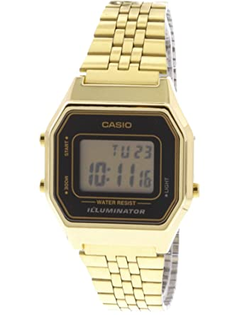 6ac2843fc Amazon.com: Casio Ladies Mid-Size Gold Tone Digital Retro Watch  LA-680WGA-1DF: Casio: Watches