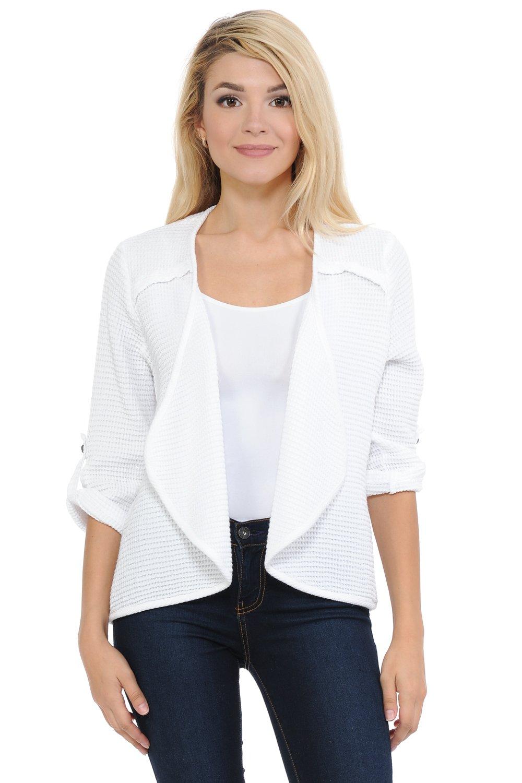 Focus Fashion 3/4 Sleeve Cotton Feather Waffle Cardigan-FW117 (Large, White)