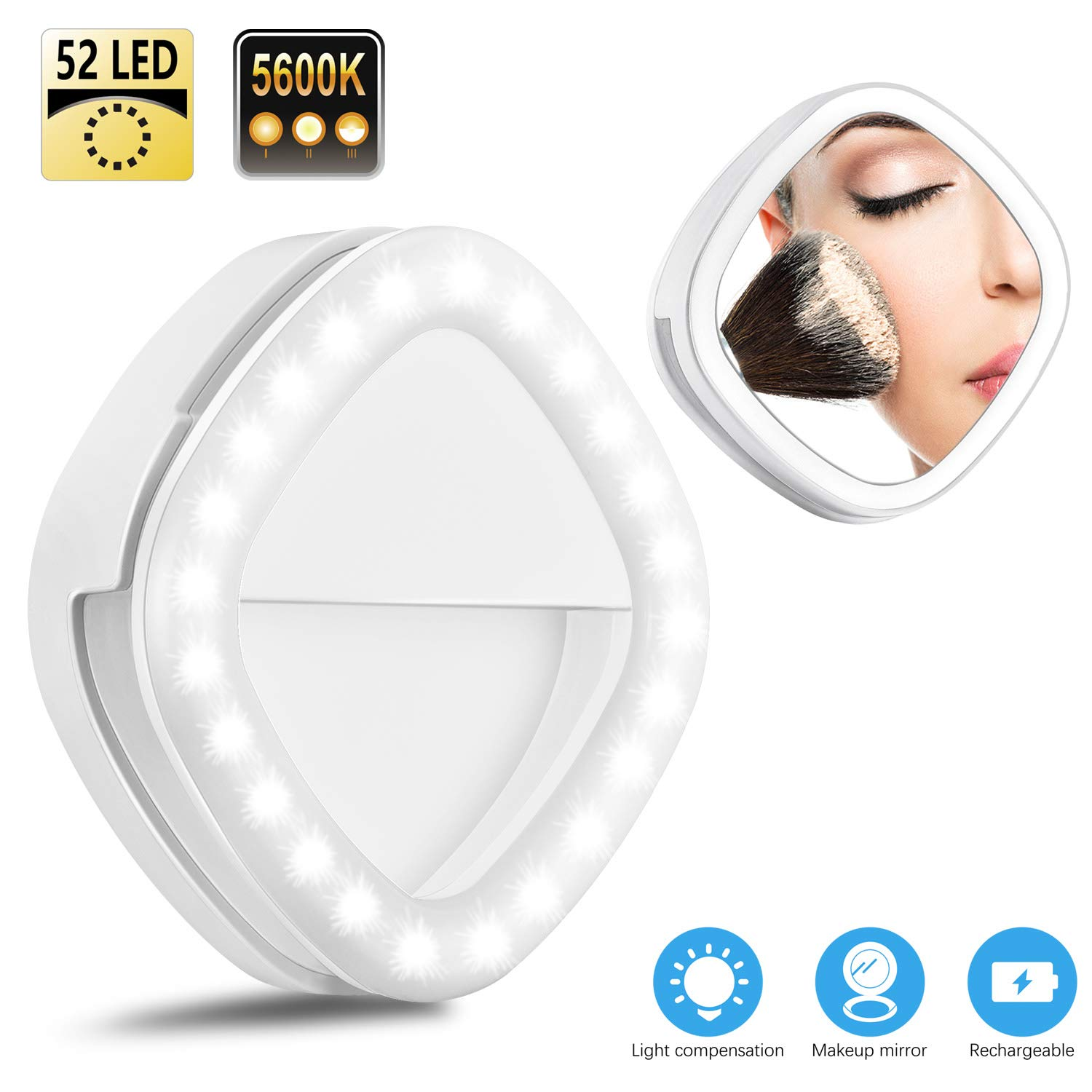 Selfie Ring Light, Solarxia Rechargeable Selfie Lights with Makeup Mirror [52 LED Bulbs][3-Light Mode][9-Level Brightness] for iPhone iPad MacBook Laptop Android Camera(White)