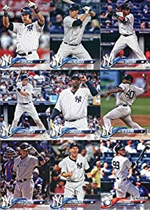 2018 Topps New York Yankees Team Set of 17 Baseball Cards (Series 1): Aaron Judge(#1), Clint Frazier(#7), Luis Severino(#34), Dellin Betances(#80), Todd Frazier(#84), Starlin Castro(#109), Aaron Judge(#111), Masahiro Tanaka(#160), Garrett Cooper(#181), Aa