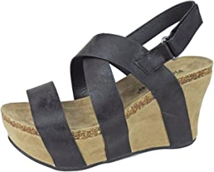 Pierre Dumas Womens Hester-5 Vegan Leather Strappy Wedge Sandals