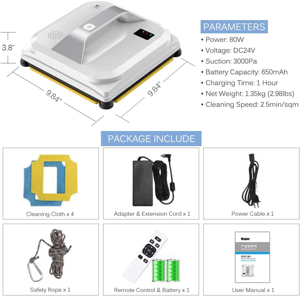 Indoor Outdoor Use Remote Control Smart Robotic Window Cleaning Tool Ideal Gift for You Robot Vacuum Cleaner for Windows//Tile Wall//Glass Door with Safty Rope Window Cleaner Robot