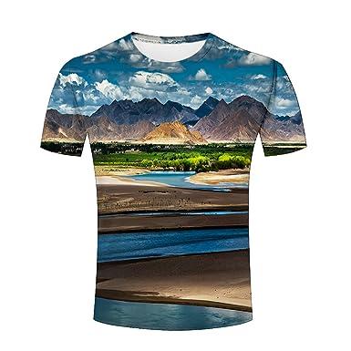 a3a848e5e38 Amazon.com  Mens 3D Natural Scenery Printed Short Sleeves T-shirt  Clothing