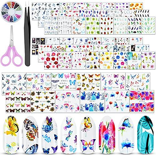 Stikers uñas (60h) maripo/flores/plumas +gemas/pinza/tijera