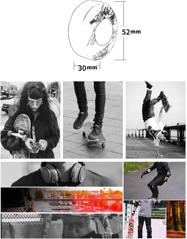 Facibom Lot de 4 roues de skateboard avec roulements 52 x 30 mm