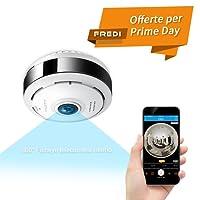 FREDI HD 960P Fisheye Wifi Telecamera sorveglianza interno senza fili IP Camera Videocamera di Sorveglianza Telecamera IP Wifi 360° con Audio Bidirezionale, Sensore di Movimento, 15M Visione Notturna