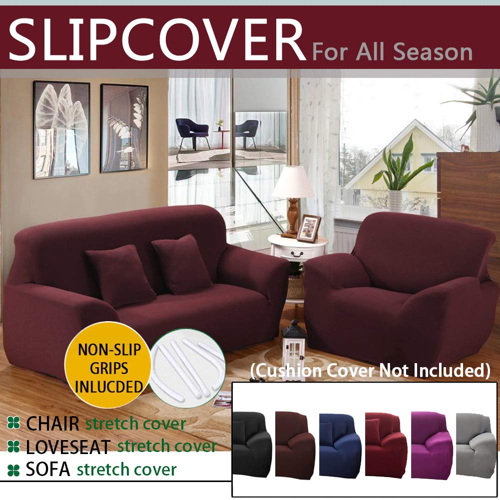 WATTA Stretch Elastic Sofa Slipcover 1 2 3 4 Seater Sofa Couch Polyester Spandex Fabric Protector