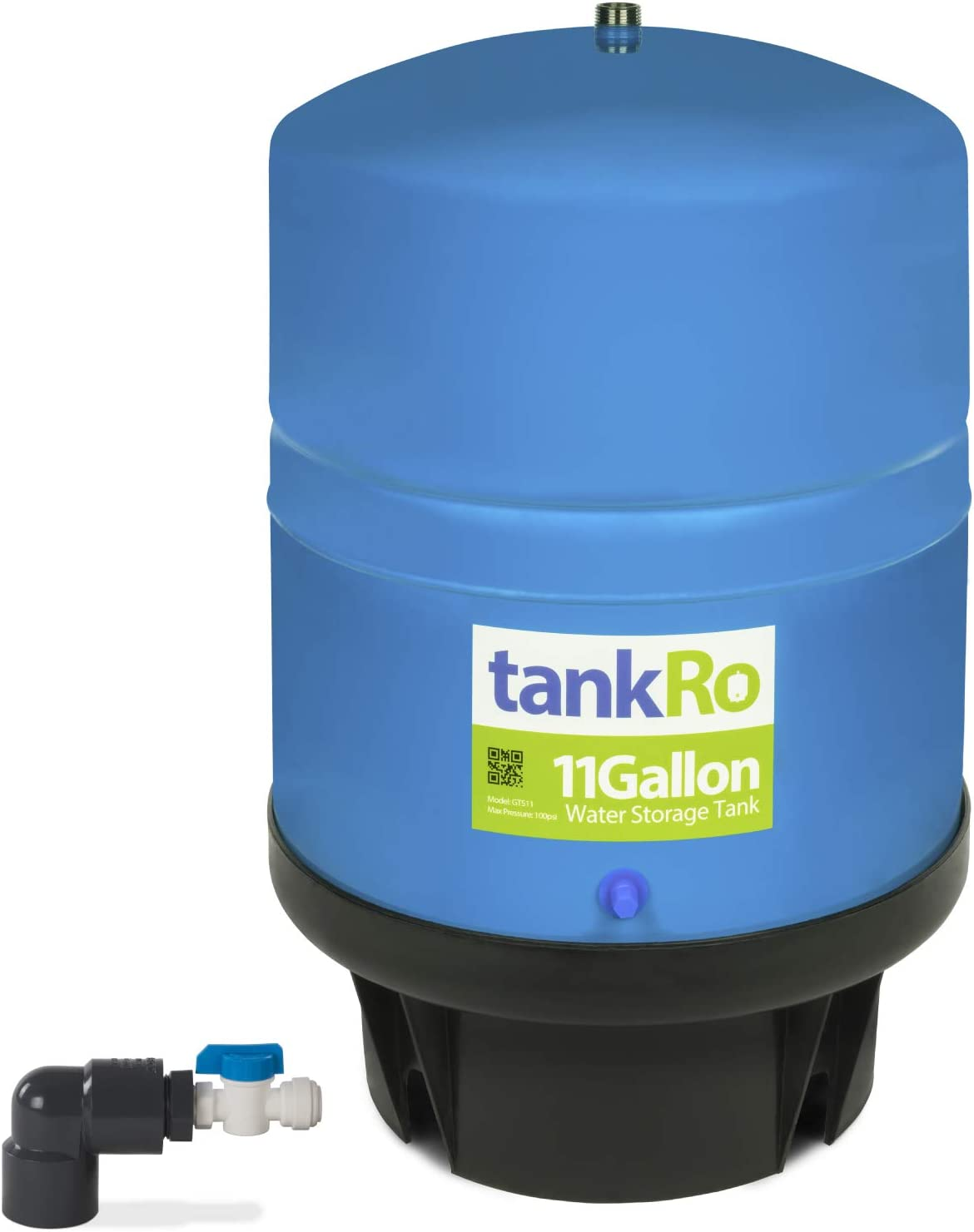 11 Gallon RO Expansion Tank – Large Reverse Osmosis Water Storage Pressure Tank by tankRO – with FREE Tank Ball Valve