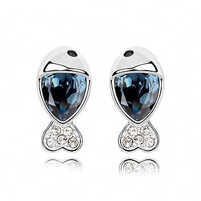 15761eb3ac41 Pendientes Para Mujer Aretes De Cierre Presión Baratos Niña Aleación Na  Cristal Oro Blanco Plateado Azul Capri Peces Precioso  Amazon.es  Joyería