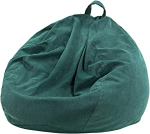 Nobildonna Stuffed Storage Bird's Nest Bean Bag Chair Cover (No Filler) for Kids and Adults. Extra Large Beanbag Stuffed Animal Storage or Memory Foam Soft Premium Corduroy (Dark Green)